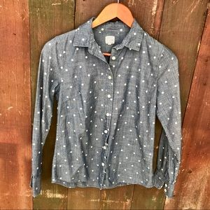 J. Crew The Perfect shirt in dotted chambray
